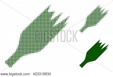 Broken Wine Bottle Halftone Dotted Icon. Halftone Array Contains Circle Pixels. Vector Illustration
