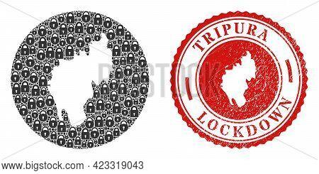 Vector Mosaic Tripura State Map Of Locks And Grunge Lockdown Stamp. Mosaic Geographic Tripura State