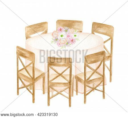 Watercolor Round Banquet Table With Wood Chairs Isolated On White Background. Hand Drawn Draped Tabl