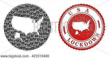 Vector Mosaic Usa With Alaska Map Of Locks And Grunge Lockdown Seal Stamp. Mosaic Geographic Usa Wit