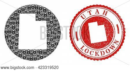 Vector Collage Utah State Map Of Locks And Grunge Lockdown Stamp. Mosaic Geographic Utah State Map C