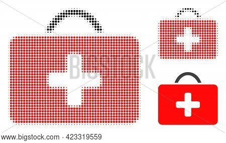 Medical Case Halftone Dotted Icon. Halftone Array Contains Round Dots. Vector Illustration Of Medica