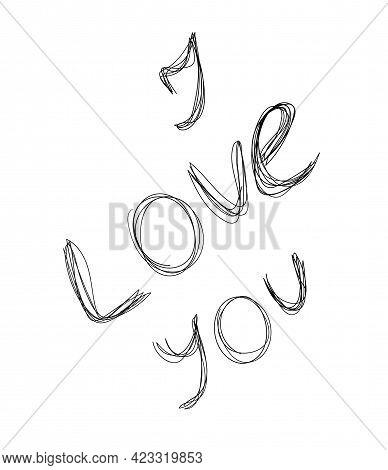 Inscription I Love You Handdraw Doodle. Vector Illustration Elements
