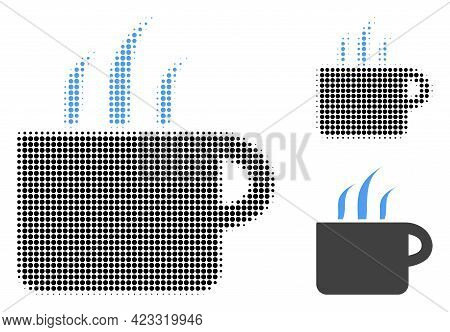 Aroma Cup Halftone Dotted Icon. Halftone Array Contains Round Dots. Vector Illustration Of Aroma Cup