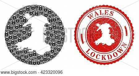 Vector Mosaic Wales Map Of Locks And Grunge Lockdown Stamp. Mosaic Geographic Wales Map Created As S