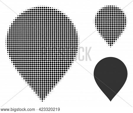Map Pointer Halftone Dotted Icon. Halftone Pattern Contains Round Elements. Vector Illustration Of M