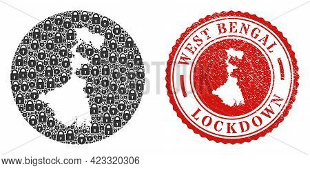 Vector Mosaic West Bengal State Map Of Locks And Grunge Lockdown Seal Stamp. Mosaic Geographic West