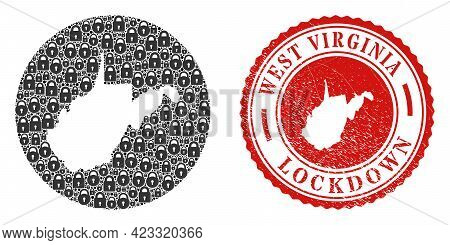 Vector Mosaic West Virginia State Map Of Locks And Grunge Lockdown Seal Stamp. Mosaic Geographic Wes