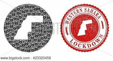 Vector Mosaic Western Sahara Map Of Locks And Grunge Lockdown Stamp. Mosaic Geographic Western Sahar