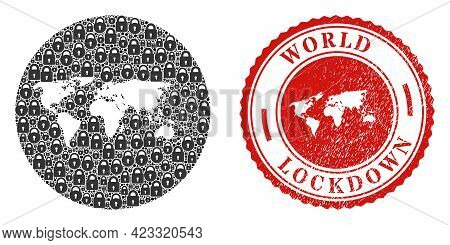 Vector Mosaic World Map Of Locks And Grunge Lockdown Seal. Mosaic Geographic World Map Constructed A