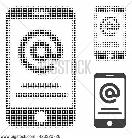 Smartphone Address Info Halftone Dotted Icon. Halftone Pattern Contains Round Pixels. Vector Illustr