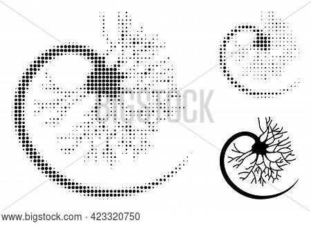 Neuron Halftone Dotted Icon. Halftone Pattern Contains Circle Dots. Vector Illustration Of Neuron Ic