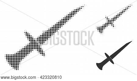 Sword Halftone Dotted Icon. Halftone Array Contains Round Pixels. Vector Illustration Of Sword Icon