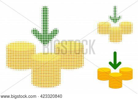 Receive Coins Halftone Dotted Icon. Halftone Pattern Contains Circle Dots. Vector Illustration Of Re