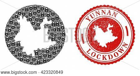 Vector Collage Yunnan Province Map Of Locks And Grunge Lockdown Seal Stamp. Mosaic Geographic Yunnan