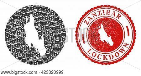 Vector Mosaic Zanzibar Island Map Of Locks And Grunge Lockdown Seal Stamp. Mosaic Geographic Zanziba