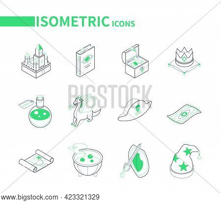 Fantasy And Fiction - Line Colorful Isometric Icons Set