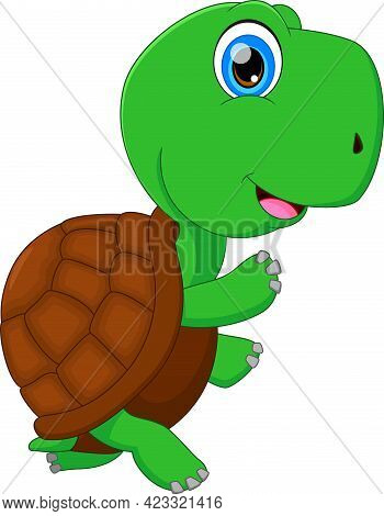 Cute Green Turtle Cartoon On White Background