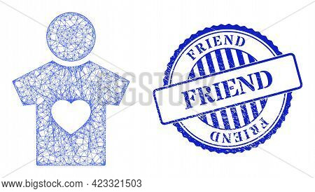 Vector Net Boyfriend Frame, And Friend Blue Rosette Corroded Watermark. Crossed Frame Net Symbol Cre