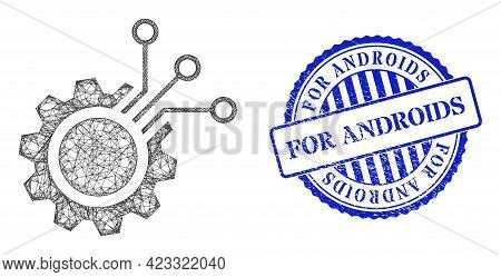 Vector Network Electronic Gear Carcass, And For Androids Blue Rosette Scratched Stamp Seal. Linear C