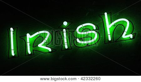 Word Irish in Green Neon