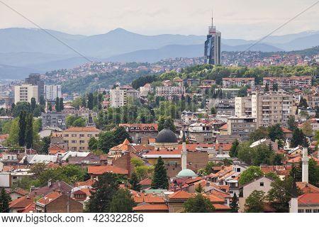 Sarajevo, Bosnia And Herzegovina - May 25 2019: Cityscape Of The Capital Of Bosnia And Herzegovina W