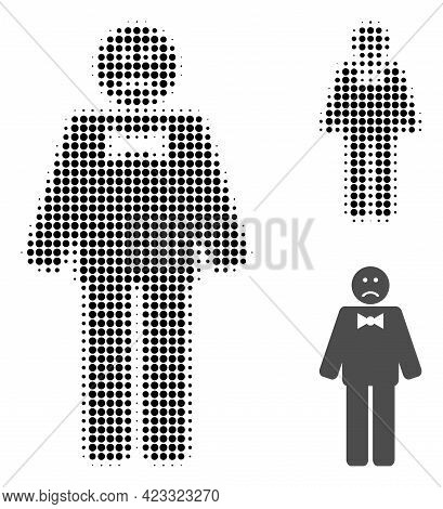 Sad Man Halftone Dotted Icon. Halftone Array Contains Round Elements. Vector Illustration Of Sad Man