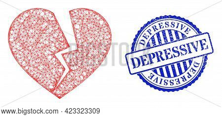 Vector Crossing Mesh Broken Heart Framework, And Depressive Blue Rosette Dirty Seal Print. Hatched F