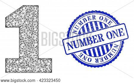 Vector Net Mesh Digit One Model, And Number One Blue Rosette Corroded Seal Print. Linear Carcass Net