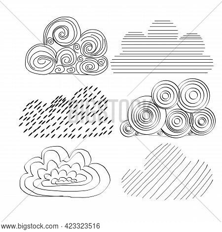Set Of Clouds In Hand Drawn Vintage Retro Style Isolated On White Background. Set Of Vector Hand Dra