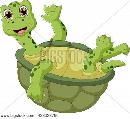 Cartoon Cute Turtle Waving On White Background
