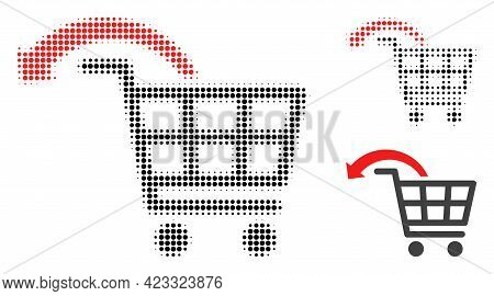 Undo Shopping Order Halftone Dotted Icon. Halftone Pattern Contains Round Dots. Vector Illustration