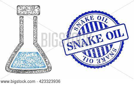 Vector Net Closed Retort Frame, And Snake Oil Blue Rosette Rubber Stamp Seal. Crossed Carcass Networ