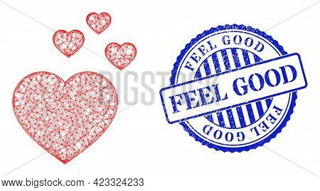 Vector Network Favorite Hearts Model, And Feel Good Blue Rosette Dirty Stamp Seal. Wire Carcass Netw