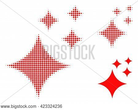 Shine Stars Halftone Dotted Icon. Halftone Pattern Contains Circle Points. Vector Illustration Of Sh