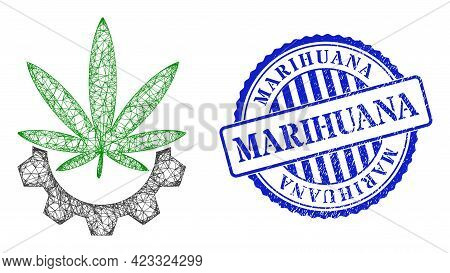 Vector Network Cannabis Industry Framework, And Marihuana Blue Rosette Textured Stamp Seal. Crossed