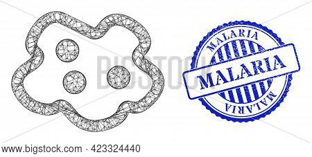 Vector Net Mesh Amoeba Frame, And Malaria Blue Rosette Unclean Stamp. Wire Carcass Net Symbol Create