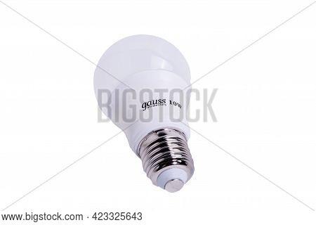Tyumen, Russia-may 25, 2021: Gauss 10 Watt Led Light Bulb Isolated On White Background