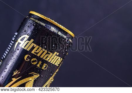 Tyumen, Russia-may 25, 2021: Adrenaline Rush Energy Drink, Metal Can. Close Up. Black Background