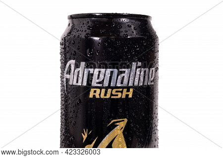 Tyumen, Russia-may 25, 2021: Adrenaline Rush Energy Drink, Metal Can, With Water Drops, Isolated On