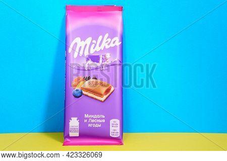 Tyumen, Russia-april 17, 2021: Milka Is A Swiss Brand Of Chocolate Confection Manufactured Internati