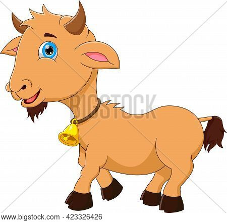 Cartoon Cute Goat Smiling Pose On A White Background