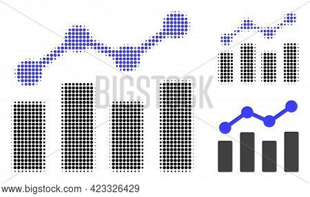 Trend Chart Halftone Dotted Icon. Halftone Pattern Contains Circle Dots. Vector Illustration Of Tren