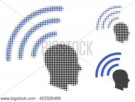 Telepathy Waves Halftone Dotted Icon. Halftone Array Contains Round Dots. Vector Illustration Of Tel