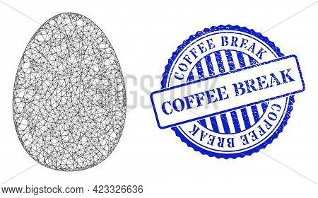 Vector Net Egg Carcass, And Coffee Break Blue Rosette Dirty Stamp. Wire Carcass Net Image Created Fr
