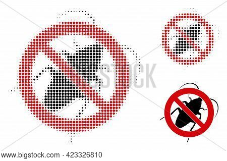 Stop Cockroach Halftone Dotted Icon. Halftone Pattern Contains Circle Pixels. Vector Illustration Of