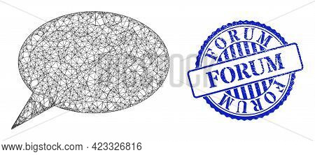 Vector Net Mesh Forum Message Frame, And Forum Blue Rosette Scratched Stamp Seal. Hatched Frame Netw