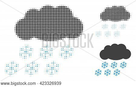 Snow Cloud Halftone Dotted Icon. Halftone Array Contains Round Dots. Vector Illustration Of Snow Clo