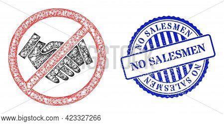 Vector Net Forbidden Handshake Carcass, And No Salesmen Blue Rosette Grunge Watermark. Wire Carcass