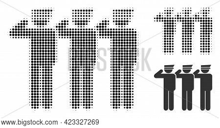 Soldiers Halftone Dotted Icon. Halftone Array Contains Circle Dots. Vector Illustration Of Soldiers